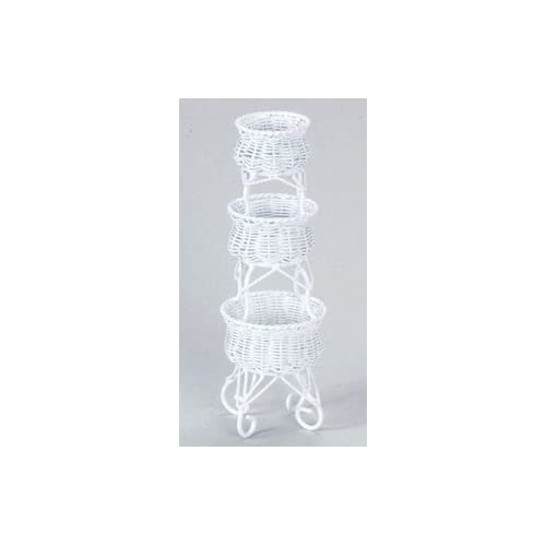 Dollhouse Miniature White Wire 3 Tier Plant Stand