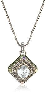 "Sorrelli ""Running Water"" Princess Cut Crystal Silver-Tone Pendant Necklace"