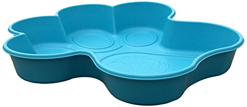 One Dog One Bone BPP02 Paw Shaped Dog Pool Made with Heavy Duty Truck Bed Liner Material Flexes like a paw for easy draining, Small, Blue