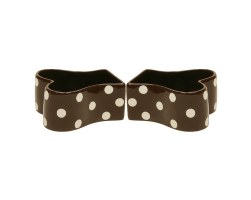 Bone Shaped Ceramic Pet Food Bowl - Chocolate with White Polka Dots, Set of 2