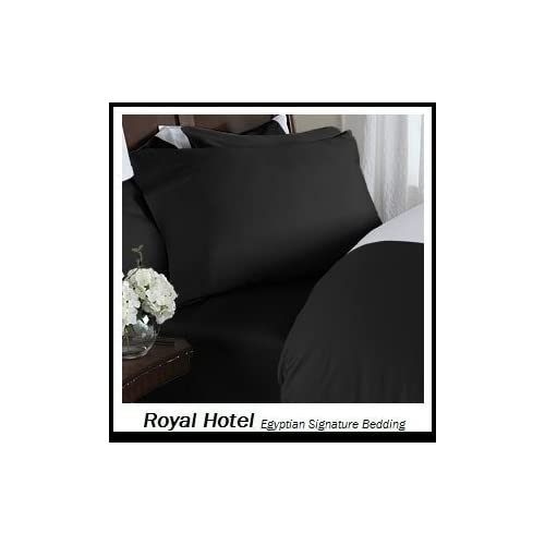 Royal Hotel's Solid Black 600 Thread Count 4pc King Bed Sheet Set
