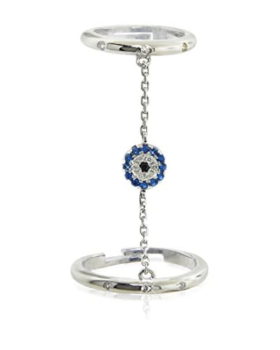 Diamonere Sterling Silver Pavé Evil Eye Chain Ring
