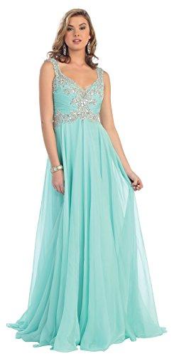 Prom Rhinestone Long Chiffon Dress Formal Gown #7146 (4, Mint)