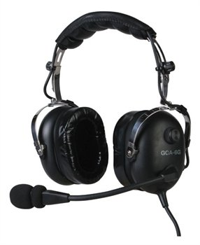 Gulf Coast Avionics Gca-6G Premium Pilot Aviation Headset W/Mp3 Input Black