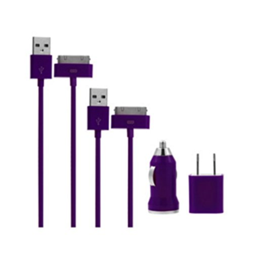 Xgen 2X 3 Ft Usb Sync Data Cable, Wall Charger, Car Charger For Iphone 4 , 4S, 4G , Ipod Touch Ipod Touch (Purple)