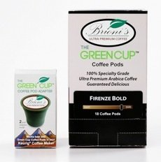 The Green Cup Starter Pack - 12 Brioni's Blend Decafe Coffee Pods with Green Cup Coffee Pod Adapter for Keurig and Kcup Coffee Machines