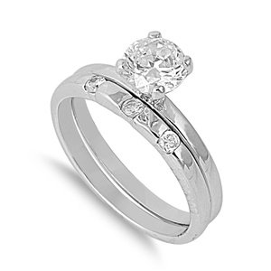 Sterling Silver Cubic Zirconia Engagement Ring Set (Available Size 5, 6 ,7, 8, 9) (7)