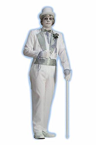 [Victorian Ghost Groom Costume Halloween Adult Men Jacket Wedding Dead Zombie Std] (Dead Groom Costume)