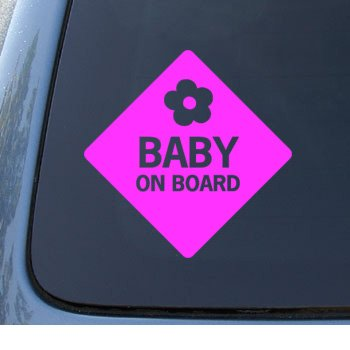 BABY ON BOARD - Child Warning - Car, Truck, Notebook, Vinyl Decal Sticker #1100 | Vinyl Color: Pink