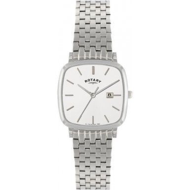 Rotary Timepieces Men's Quartz Watch with White Dial Analogue Display and Silver Stainless Steel Bracelet GB02400/02