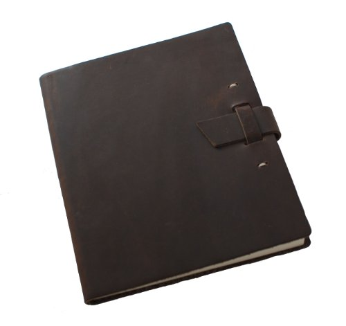 Genuine Leather Courier Journal with Buckle Closure, Dark Brown