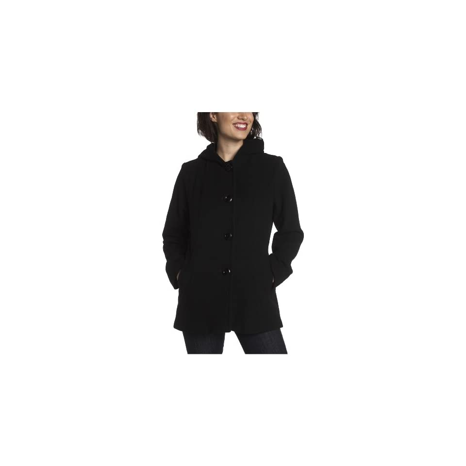 AK Anne Klein Womens Wool Single Breasted Seamed Detail Hooded Pea Coat