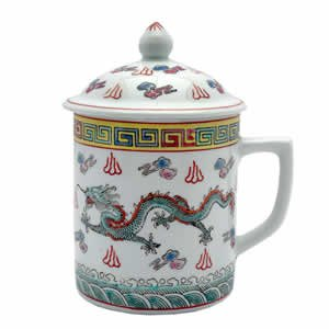Asian Porcelain Mug for Tea or Coffee with Lid - White and Green Dragon Design