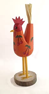 Authentic Navajo Wooden Folk Art Hand Carved and Painted Orange Rooster Chicken