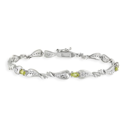 Sterling Silver Genuine Peridot and Diamond Accent Heart Link Bracelet