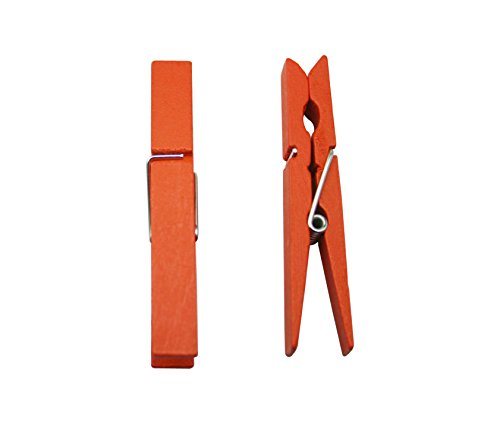 """Yongshida Wood Craft Clothespins Pegs with Spring 2.9"""" Color Orange Pack of 40"""