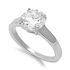 316L Stainless Steel 9mm Round CZ Solitaire Engagement/Wedding Ring; Comes with Free Box (8)