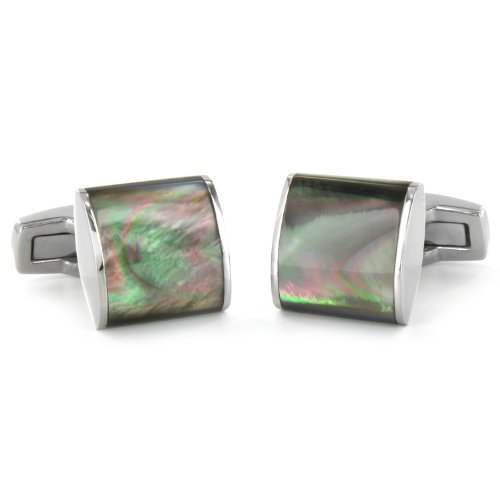 Stainless Steel Mother of Pearl Inlay Square Cuff Links