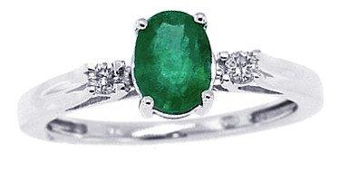 0.60Ct Genuine Emerald Diamond Three Stone Ring,10Kt White Gold-J