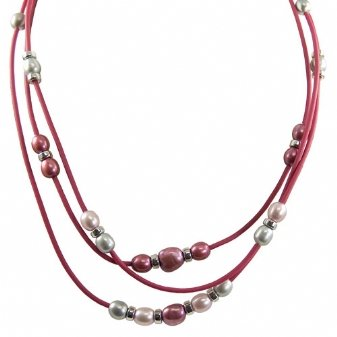 Sterling silver dyed lavender, pink and grey freshwater cultured pearl rose rubber necklace, 17.5-18.5