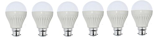 12W B22 Plastic Body White LED Bulb (Pack of 6)