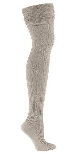 Sock It To Me OTK BEIGE CABLE KNIT Womens Thigh High Socks