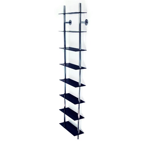 Black Large Wall Mounted Glass & Chrome CD/ DVD / Media Storage Shelves