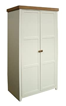 JAMESTOWN RANGE: ANTIQUE WHITE WARDROBE WITH 2 DOORS, FROM CENTURION PINE