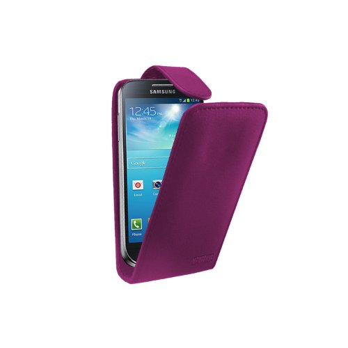 Purpurrot Leder Tasche Hülle Samsung Galaxy S4 Mini (GT-i9190 / i9192 Dual Duos / i9195 LTE) - Flip Case Cover + 2 Displayschutzfolie