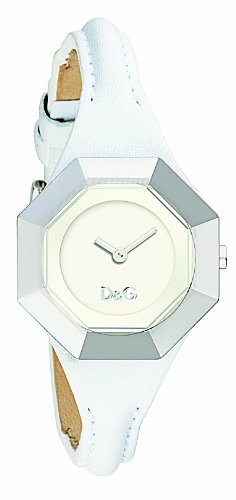 D & G Ladies Watch DW0284 String with White Leather Strap and White Dial