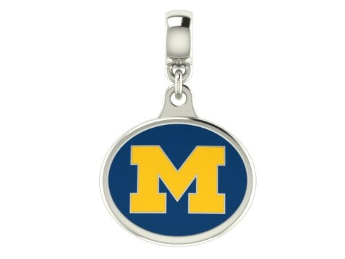 Michigan Wolverines U of M Collegiate Drop Charm Fits All European Style Charm Bracelets