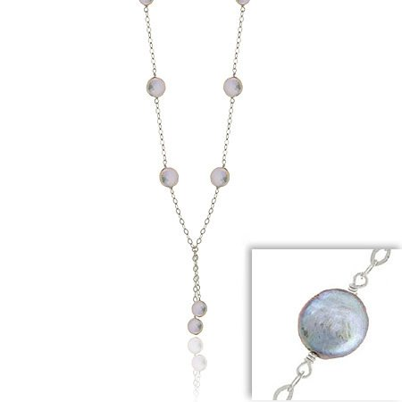 Sterling Silver .925 Thin Leaf Link Genuine Freshwater Cultured Iridescent Gray Coin Pearl Lariat Necklace
