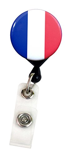 Buttonsmith® France Flag Deluxe Retractable Badge Reel With Pin Back and Extra-Long 36 inch Standard Duty Cord - Made in the USA, 1 Year Warranty (French Bulldog Lanyard compare prices)