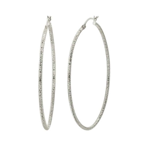 Sterling Silver Diamond-Cut Hoop Earrings (1.4″ Width)