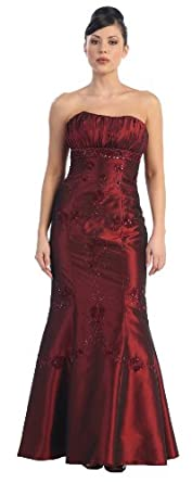 An affordable elegant red bridesmaids dress.