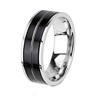 Polished Stainless Steel Wedding Band With Two Brushed Black Plated Stripes in Center