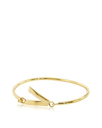 Bronzo Lusso Gold-Plated Initial V Bangle Bracelet As You See