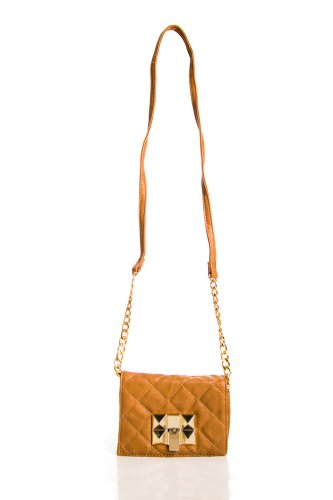 Quilt and Stud Cross Body Purse in Camel