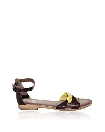 JULIE JULIE Sandalo Flat [Testa di Moro/Giallo]