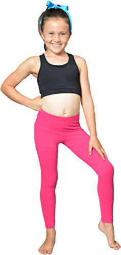 Stretch is Comfort Girl's Cotton Footless Leggings Hot Pink Large