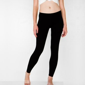 American Apparel 8328 Cotton Spandex Jersey Legging, Black, S
