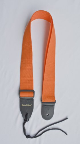 Guitar Strap Orange Nylon With Solid Leather Ends & Heavy Duty Tie Lace Quality Made In U.S.A. Fast Free Shipping To Any U.S. Address