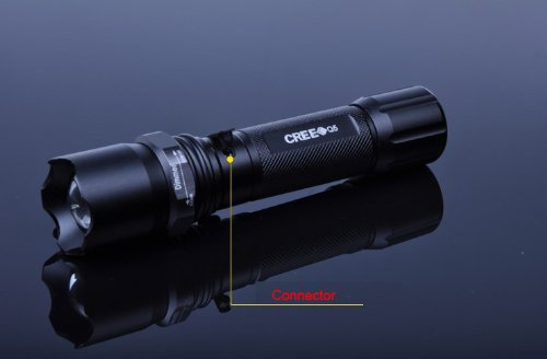 Super Bright Cree Led Q5 Adjustable Flashlight Torch Lamp Charger 500 Lumen K8 With 18650 Battery & Car Charger, 3 Switch Mode