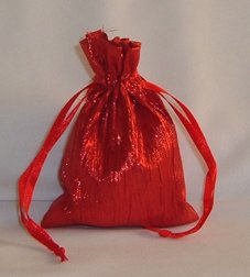 3x4 Crinkled Metallic Fabric Wedding Favor Gift Bags/Jewelry Pouches - Red (10 Bags)