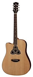 Luna Guitars Dreadnought TRI D LEFTY Trinity Left Handed Dreadnought Cutaway Acoustic/Electric, Guitar