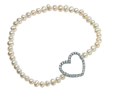 Elements Sterling Silver Ladies' B3823W Pearl Elasticated Bracelet with Cubic Zirconia Heart