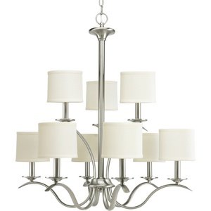 Progress Lighting P4638-09 Inspire Collection 9-Light Chandelier, Brushed Nickel