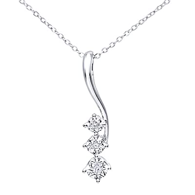 Ariel 9ct White Gold Pave Set Diamond Drop Pendant and Chain of 46cm