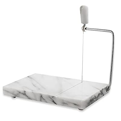 "White Marble Cheese Board Slicer with 2 Replacement Wires - 5"" x 8"""
