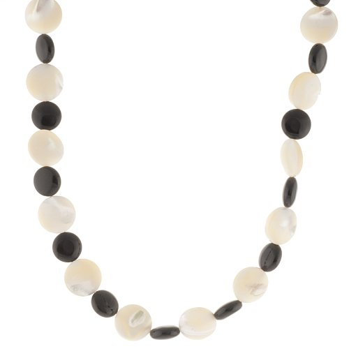 Sterling Silver Onyx and Mother-Of-Pearl Beaded Necklace, 18